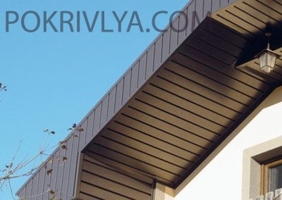 Монтаж подшивки крыши